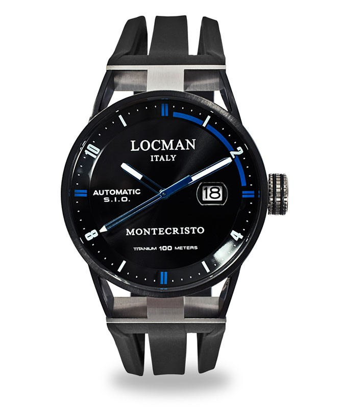 LOCMAN Watch Montecristo Classic Time Auto 44mm Case 10ATM Blk Strap Black Dial