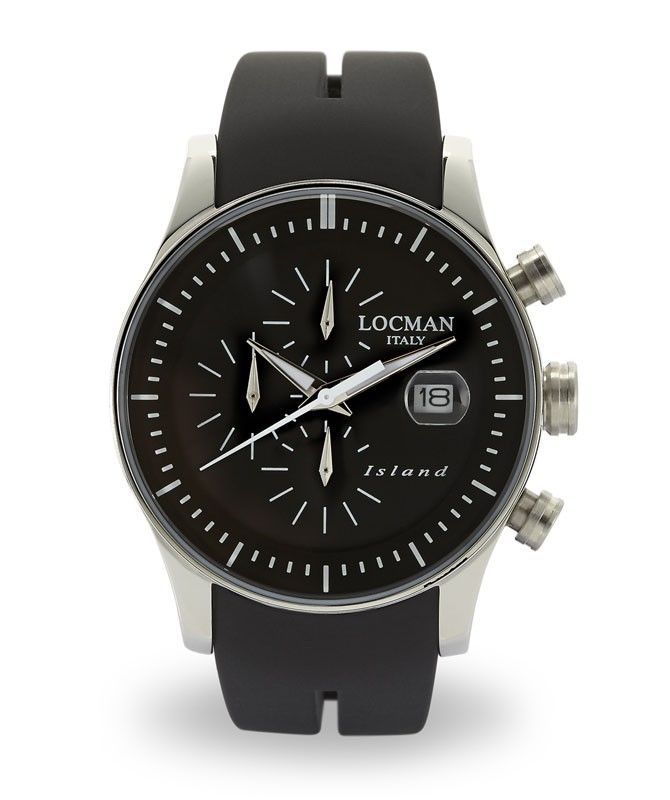 LOCMAN Watch Island Quartz Chronograph 40mm Case 5ATM Black Strap Black Dial