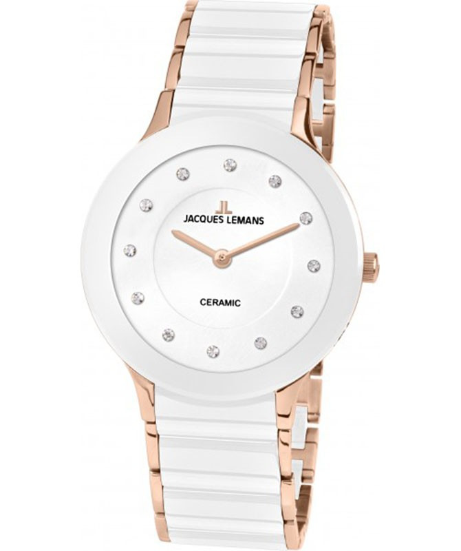 JACQUES LEMANS Classic Dublin Ladies Watch 32mm 2-Tone Ceramic Strap Wht Dial