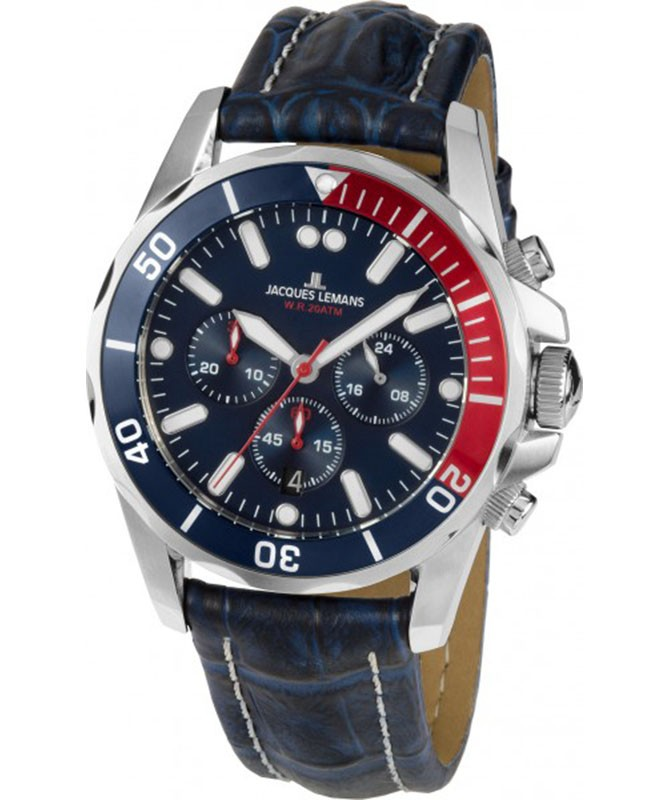 JACQUES LEMANS Sports 'Liverpool' Quartz 20ATM Dive Watch Chrono 43mm Blue Dial