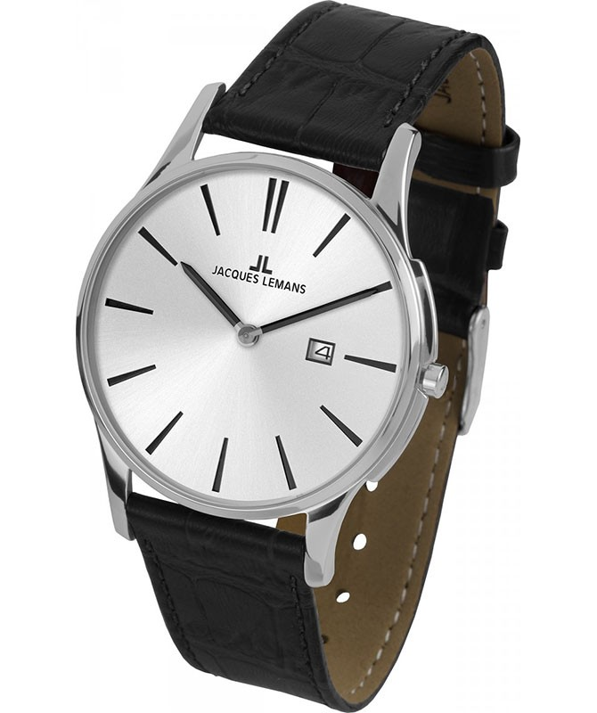 JACQUES LEMANS 'Classic' London Very Thin Date Watch 5ATM 40mm S/S Case Wht Dial