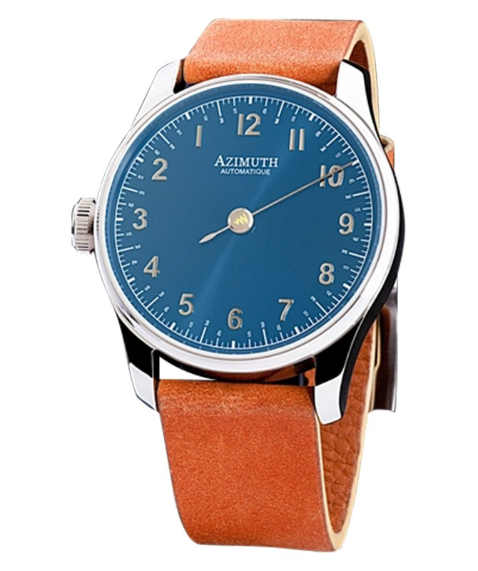 AZIMUTH ROUND-1 BACK IN TIME BLUE BLAST WATCH ANTICLOCKWISE MOTION ETA MOVT