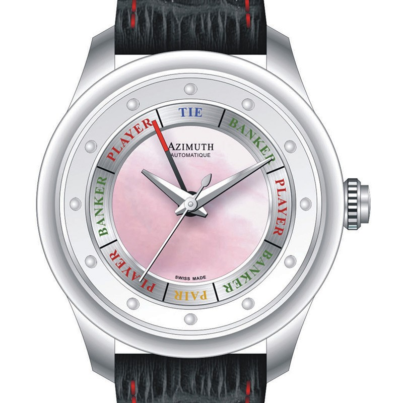 AZIMUTH ROUND-1 GRAND BACCARAT GAME LADIES ENTRY WATCH MOTHER of PEARL DIAL