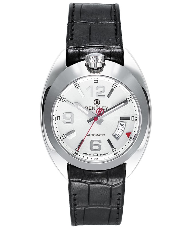 BENTLEY 'Road Captain' Automatic Date Watch 43mm SS Case Black Strap Silver Dial