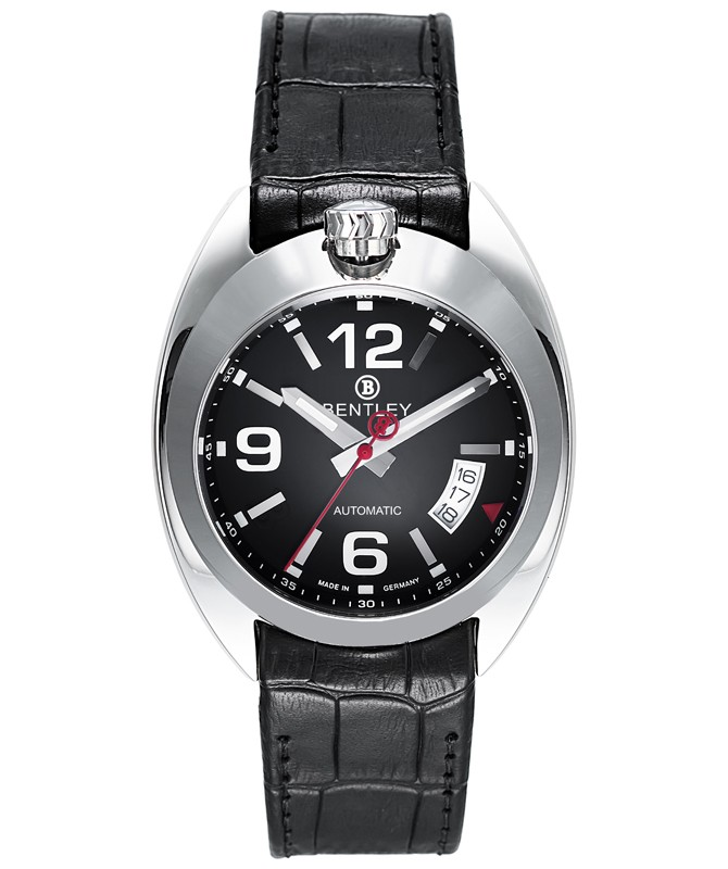 BENTLEY 'Road Captain' Automatic Date Watch 43mm SS Case Black Strap Black Dial