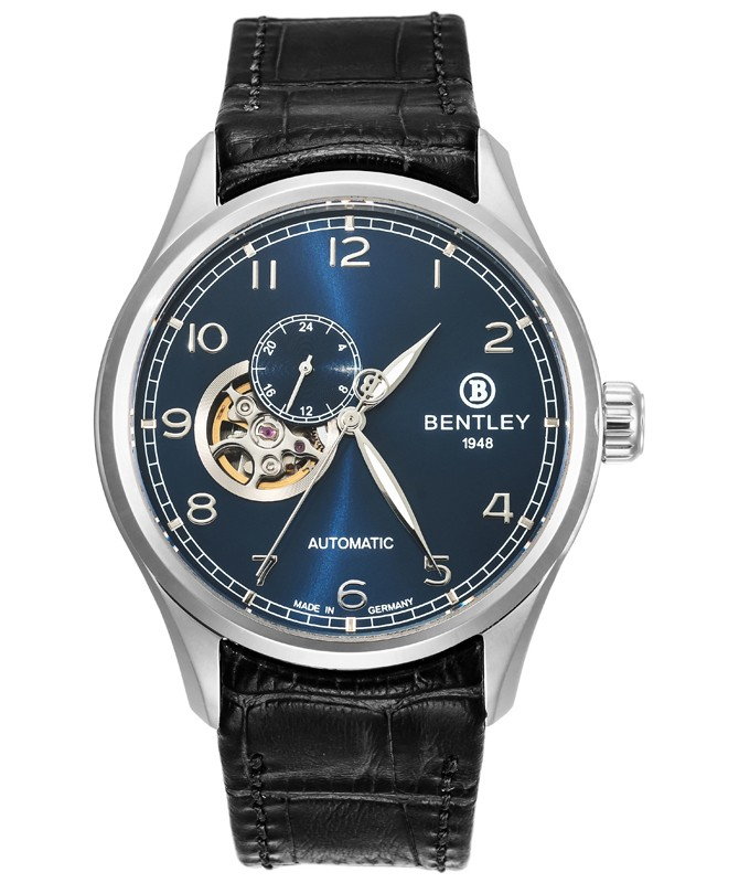 BENTLEY 'Aviator' Automatic Watch Open Heart 43mm S/S Case Black Strap Blue Dial