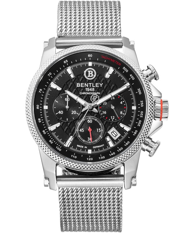 BENTLEY 'Racing' Quartz Chronograph Tachy Date Watch 43mm Steel Case Black Dial