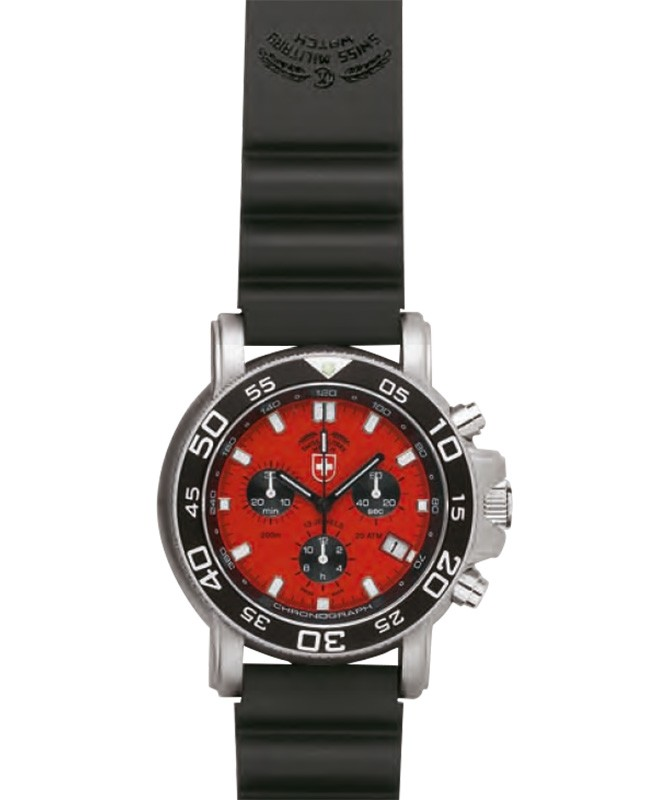 CX SWISS MILITARY NAVY DIVER 200 CHRONO WATCH RED DIAL RUBBER STRAP