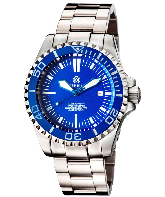 Deep Blue MASTER 2000 Automatic Diver Swiss ETA 2824-2 Blue bezel, hands & dial