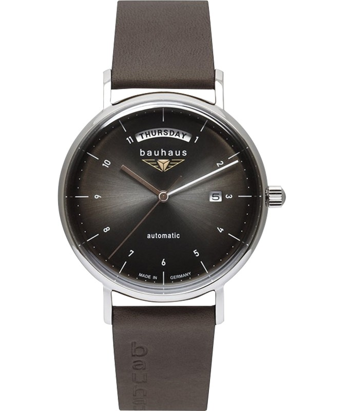 Bauhaus Minimalist Automatic Date watch 41mm Large Day Anthracite dial 21622