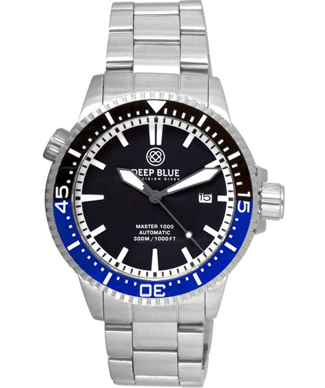 Deep Blue MASTER 1000 DIVER Auto watch Ceramic Black/Blue bezel Black dial