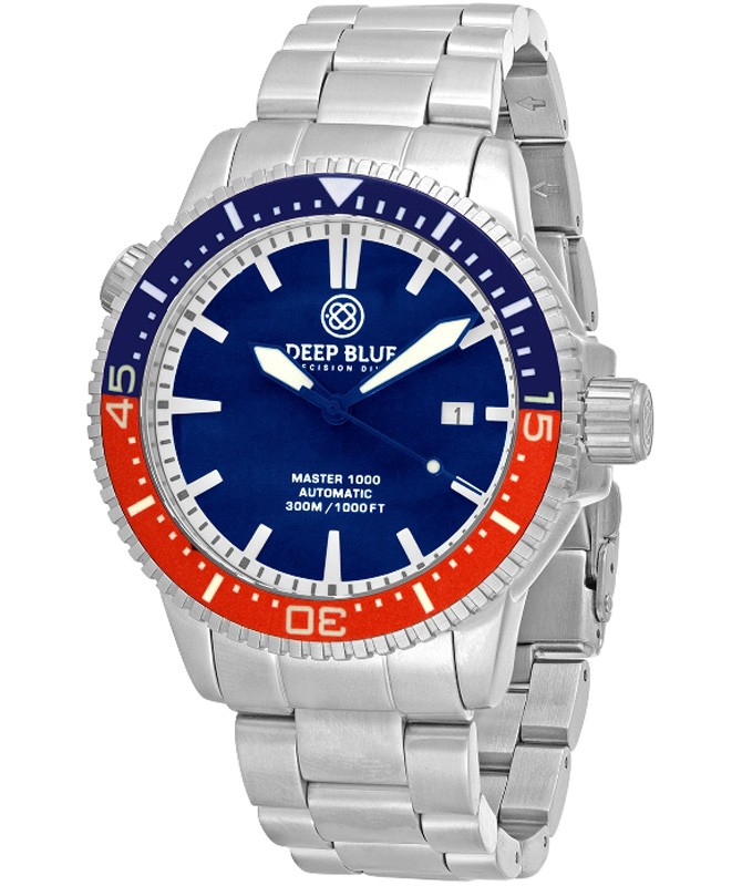 Deep Blue MASTER 1000 DIVER Auto watch Ceramic Blue/Red bezel Blue dial