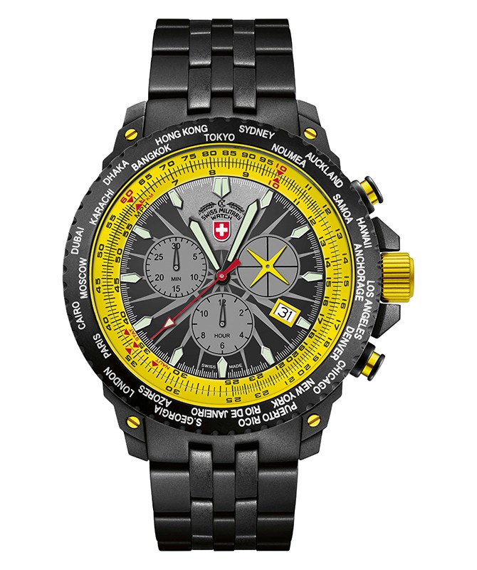 CX SWISS MILITARY HURRICANE WORLDTIMER WATCH TIMEZONE & SLIDERULE BEZEL YELLOW