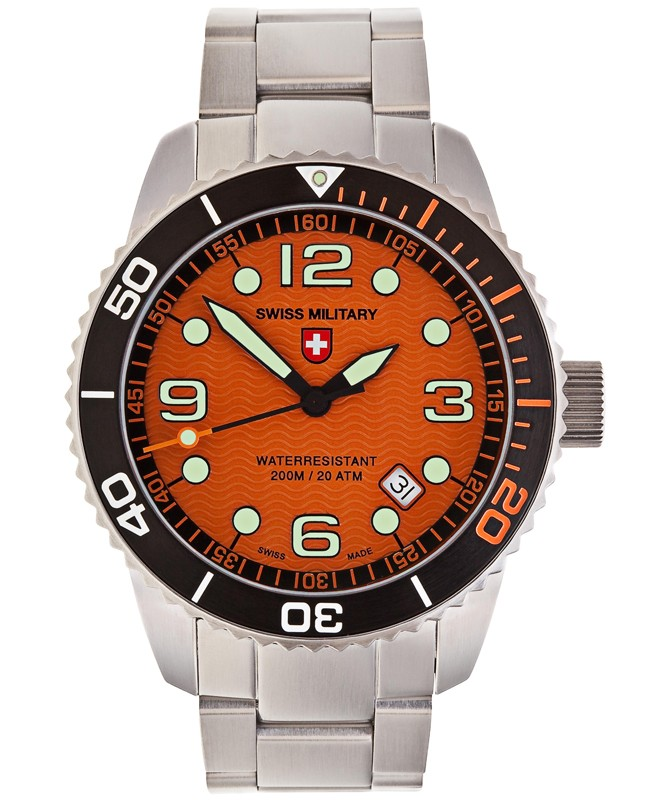 CX Swiss Military MARLIN Swiss watch 20ATM S/Steel bracelet Orange dial 2703