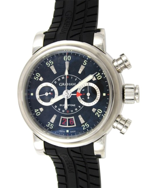 GRAHAM GRAND SILVERSTONE STEEL CASE FORMULA DIAL GMT CHRONO 2GSIAS.B02A.K07B