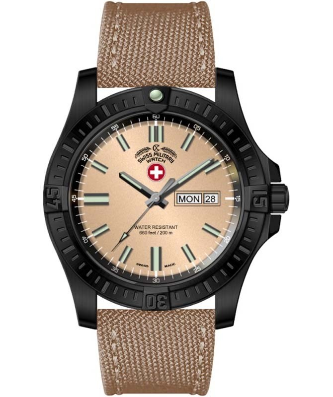 CX Swiss Military DESERT STORM Day/Date watch 42mm Khaki strap Khaki dial 3099