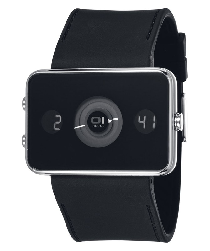 01 THE ONE TURNING DISC DIGITAL & ANALOG WATCH IP102-3BK BLACK CASE PU STRAP