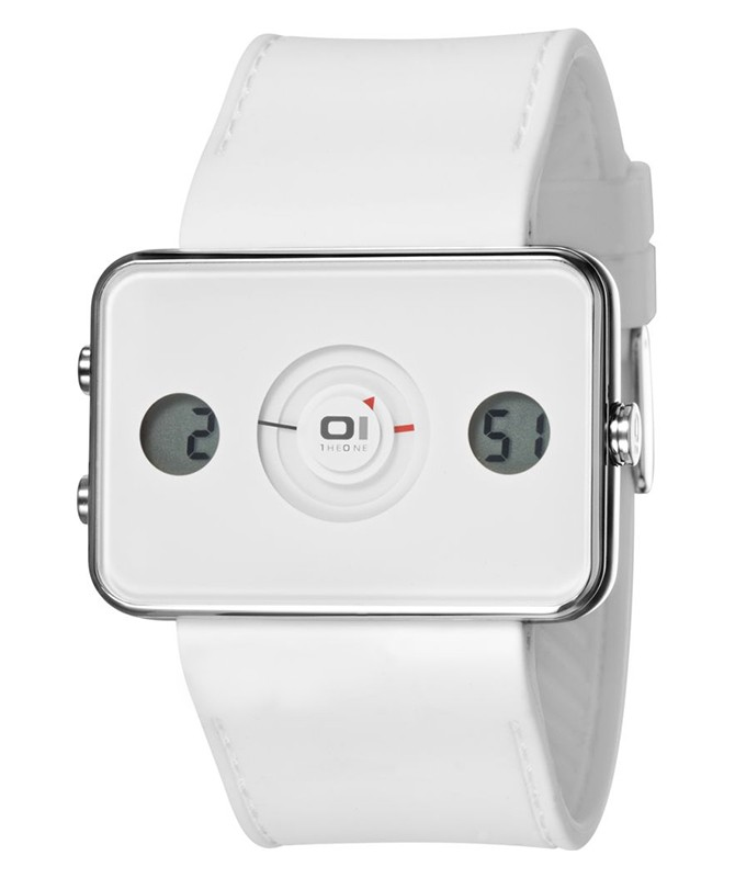 01 THE ONE TURNING DISC DIGITAL & ANALOG WATCH IP104-3WH WHITE CASE PU STRAP