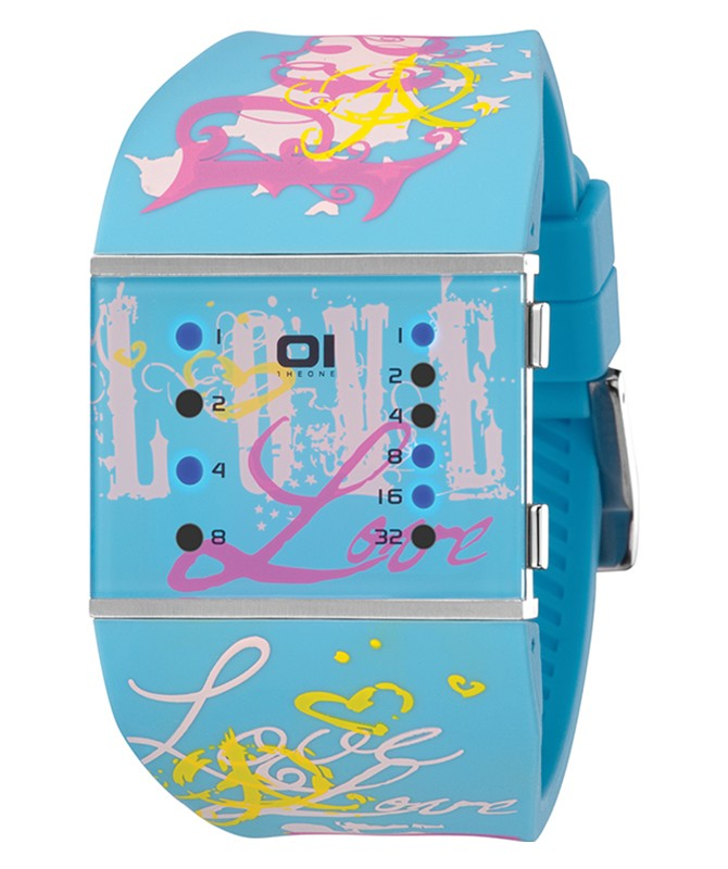 01 THE ONE SLIM SQUARE WOMENS COOL BINARY LED WATCH SLSL136B3 PU STRAP