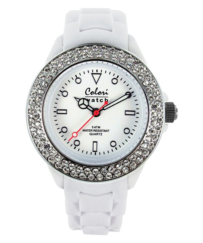 COLORI CLASSIC COLLECTION WATCH 50M WR JAPAN QUARTZ WHITE CZ 36MM DIAMETER 5-COL127
