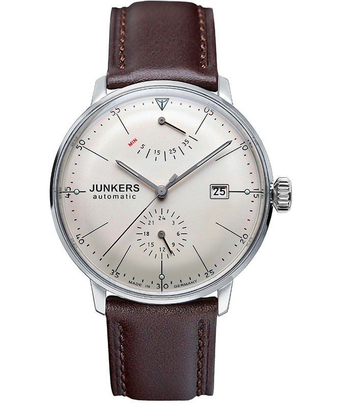 Junkers Bauhaus Auto watch Power reserve Exhibition back 40mm Beige dial 6060-5