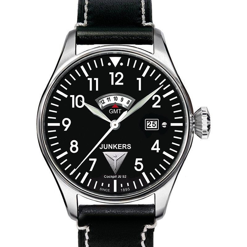 JUNKERS COCKPIT JU52 6140-2 QUARTZ GMT WATCH WITH SWISS MOVT 50M WR BLACK DIAL