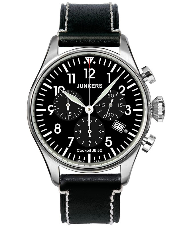 Junkers Cockpit JU52 Swiss quartz Chronograph watch Black dial  40mm 5ATM 6180-2