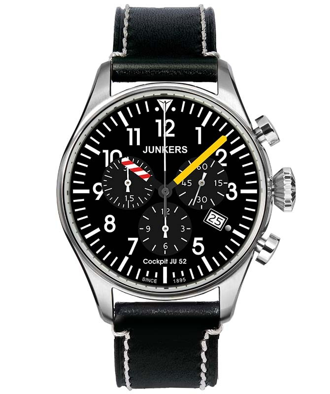 Junkers 6180-3 Cockpit JU52 Watch black dial with white, in the dark blue shining luminous digits / indices Super Luminova 6180-3