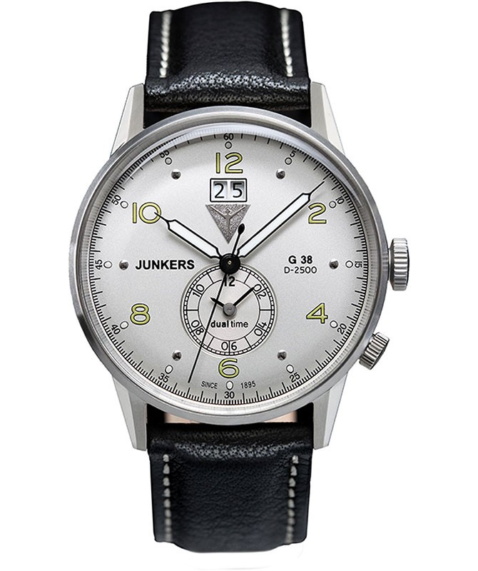 Junkers G38 Quartz watch Big date 2nd time zone 42mm S/S case Silver Dial 6940-4