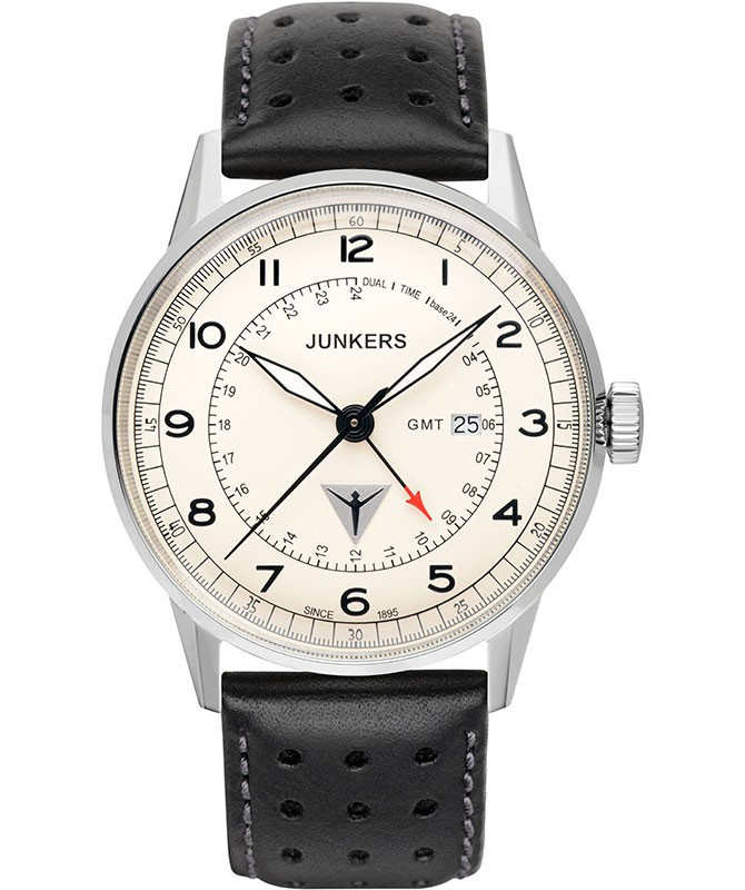 Junkers G38 Quartz watch GMT 2nd time zone 42mm steel case Beige dial 6946-5