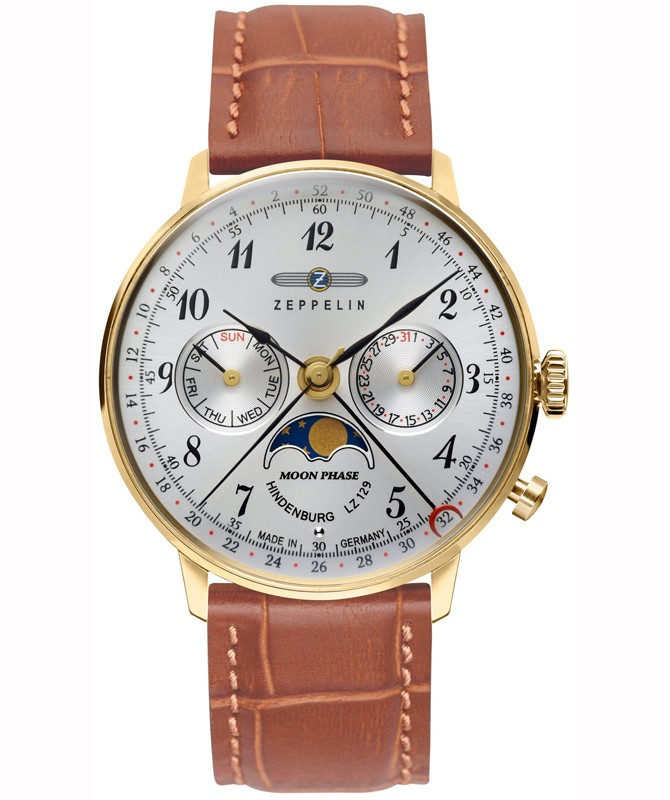 Zeppelin LZ129 Hindenburg Ladies watch Silver dial Gold case Moon phase 7039-1