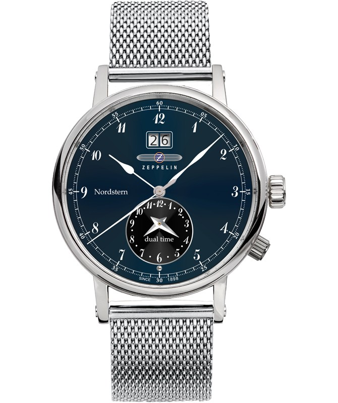 Zeppelin Nordstern Watch Series Blue And Black Dial With White Digits / Markers 7540M-3