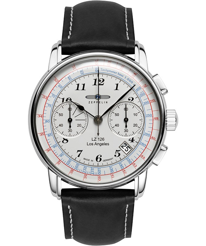 Zeppelin LZ126 Los Angeles Chrono Watch SS 42mm case Tachymeter Wht Dial 7614-1