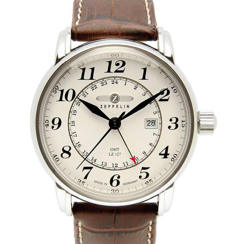 ZEPPELIN LZ127 COUNT 7642-5 QUARTZ WATCH with SWISS RONDA MOVEMENT 50M WR BEIGE DIAL