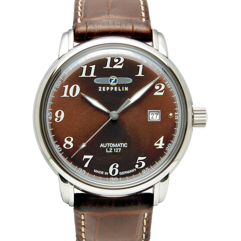 ZEPPELIN LZ127 COUNT 7656-3 QUARTZ WATCH with SWISS RONDA MOVEMENT 50M WR AMBER DIAL
