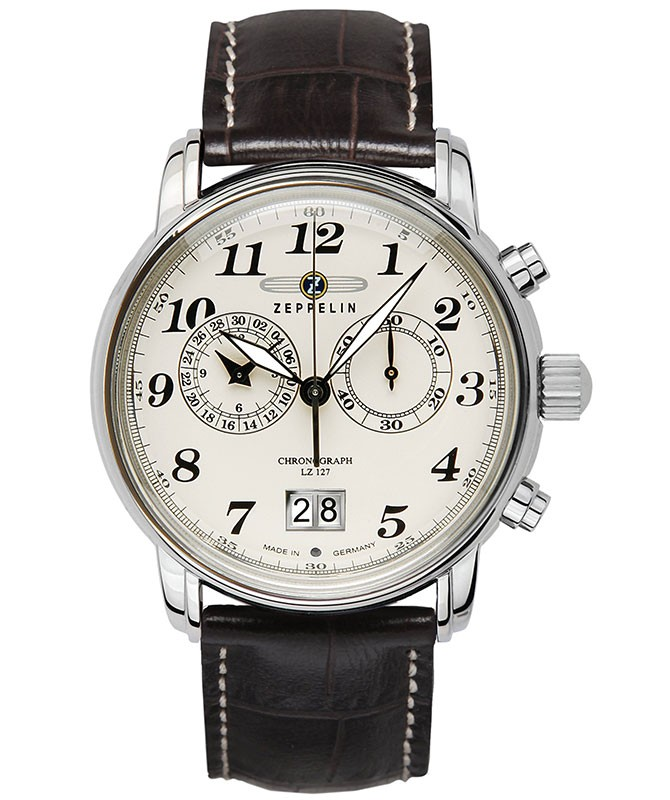 LZ127 Graf Zeppelin Quartz watch 12 Hour totalizator Big date Beige dial 7684-5