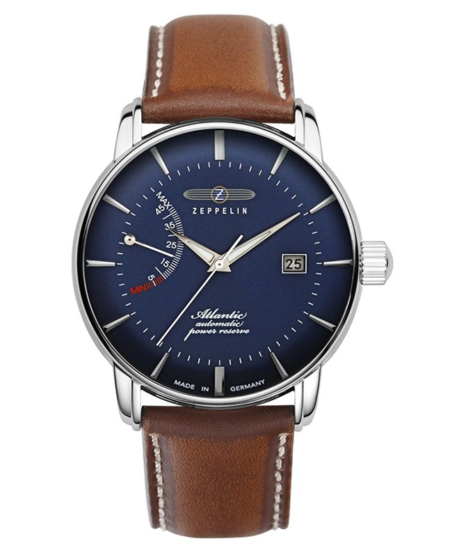 Zeppelin Atlantic Automatic Watch 42mm Pwr Reserve Date Clear Back Blue Dial