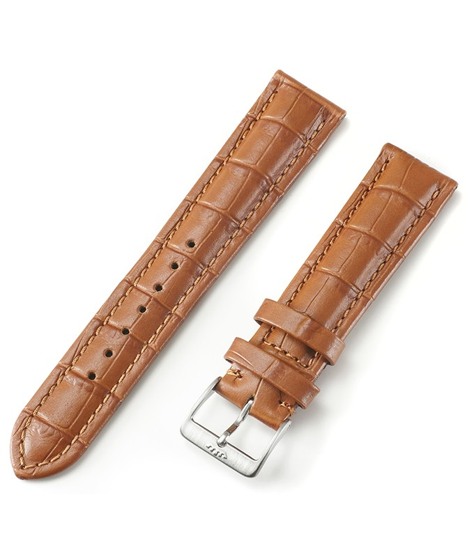 FORTIS Imitation Alligator Strap Cognac with brushed Pin buckle 99.598.3840.010