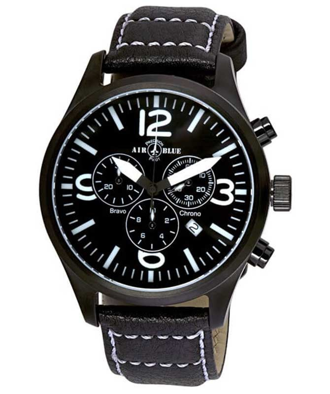 Air Blue BRAVO CHRONO Swiss quartz Pilots watch Date 44mm PVD case Black dial