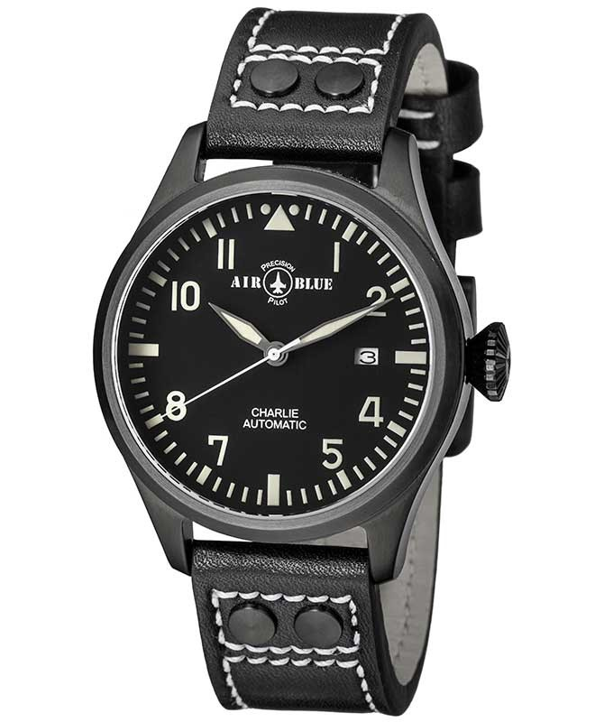 Air Blue CHARLIE AUTO watch Black PVD 44mm case Sapphire 10ATM Black/White dial