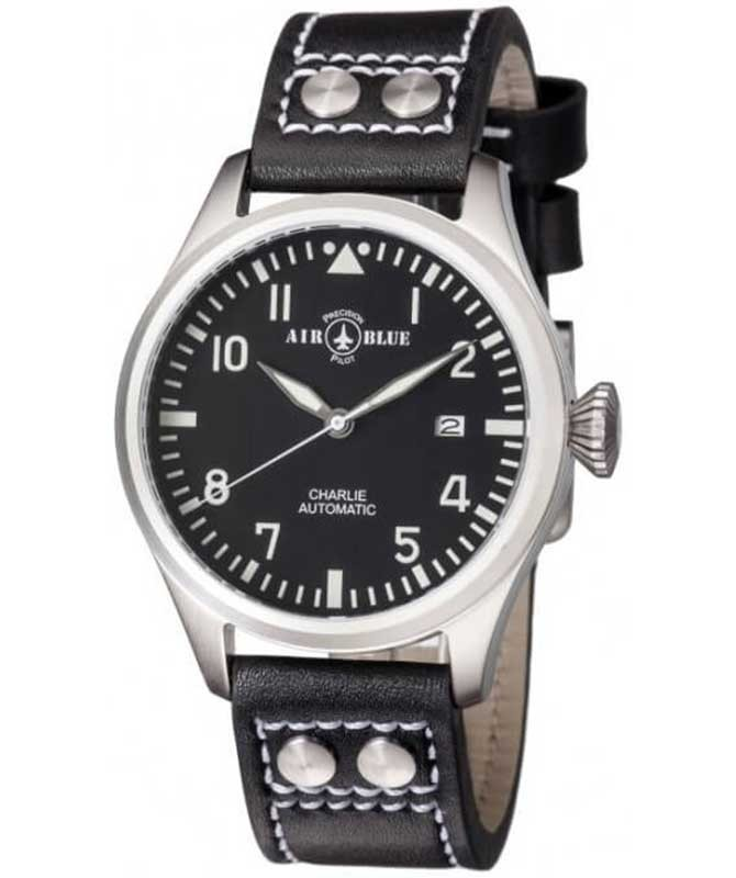 Air Blue CHARLIE AUTO SS Date watch 44mm S/Steel case Sapphire 10ATM Black dial