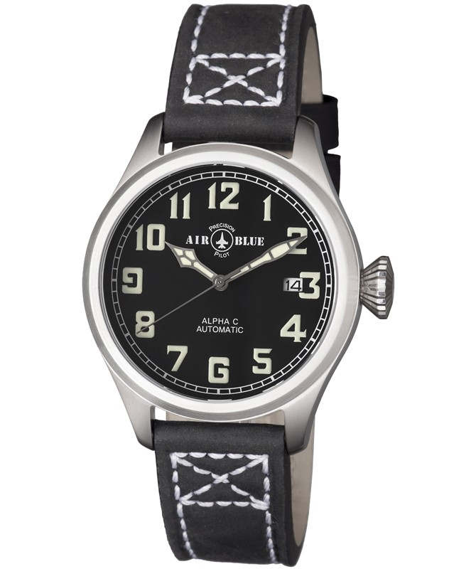 Air Blue ALPHA C S/S Pilots watch Auto Date Sapphire Crystal 41/44/47mm case