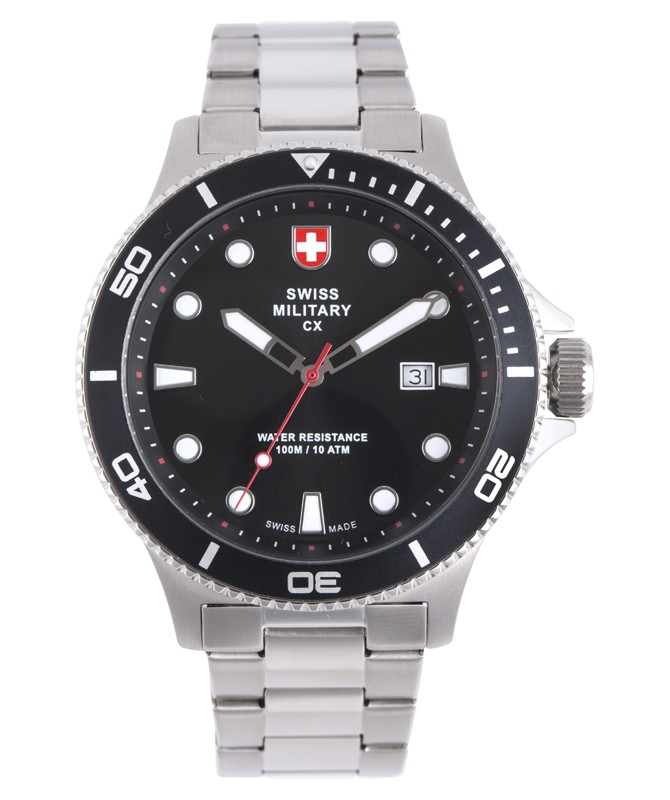 CX Swiss Military CALYPSO Diving Watch Swiss Quartz Date 10ATM Black Dial 2876