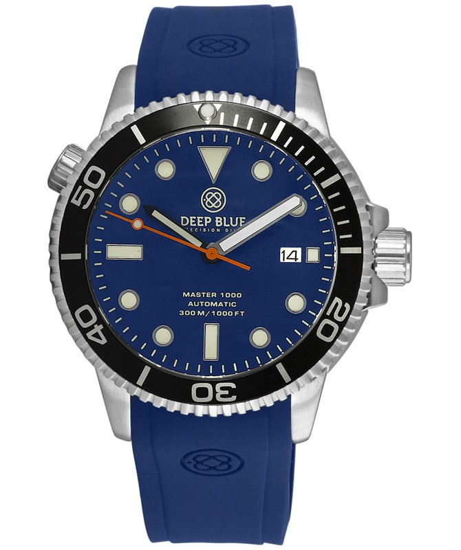 Deep Blue MASTER DIVER 1000 Auto watch Blue Silicon strap Black Bezel Blue Dial
