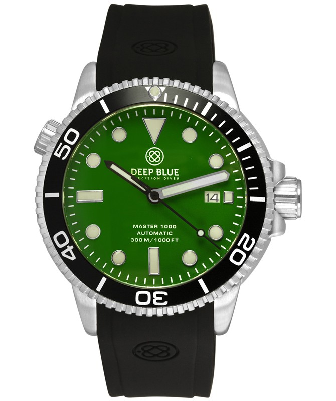 Deep Blue MASTER DIVER 1000 Auto watch Black Silicon Strap & bezel Green Dial
