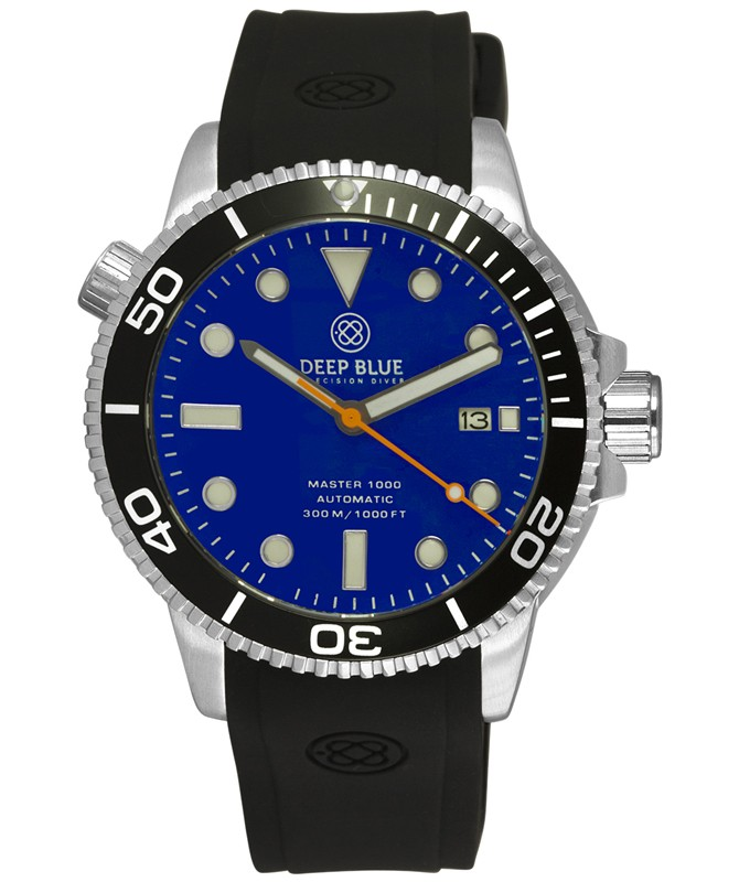 Deep Blue MASTER DIVER 1000 Auto diving watch Black strap Black Bezel Blue Dial