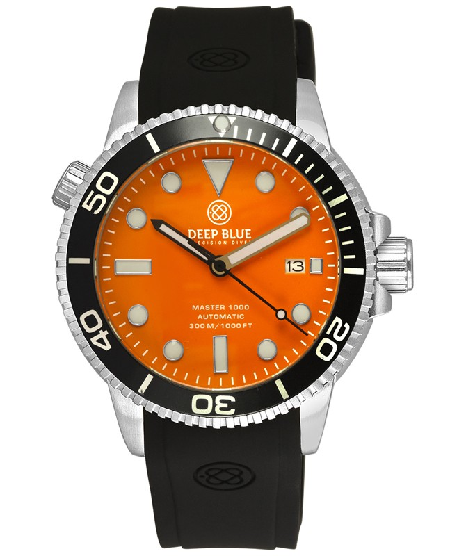 Deep Blue MASTER DIVER 1000 Auto watch Black Silicon strap & bezel Orange Dial