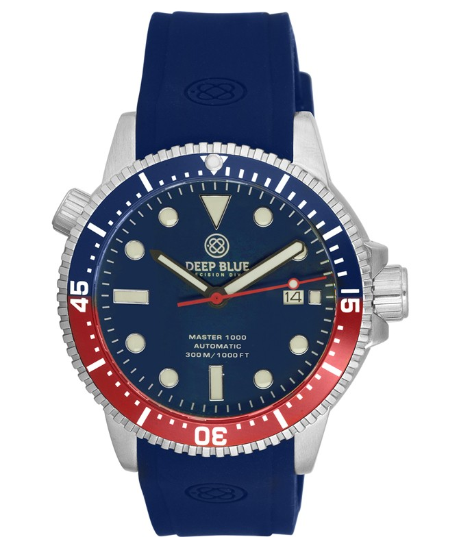 Deep Blue MASTER DIVER 1000 Auto watch Blue strap Blue/Red Bezel Blue Dial