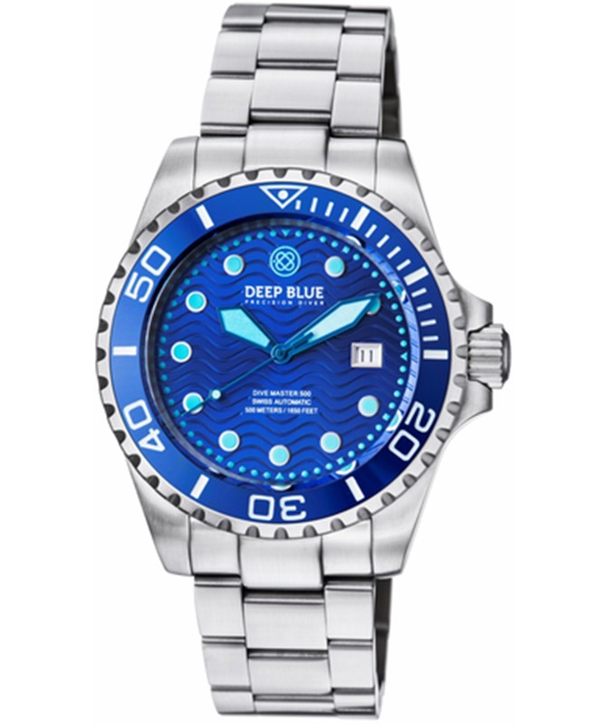 Deep Blue Dive Master 500 Automatic Diving Watch Swiss Mvt Blue Bezel Blue dial
