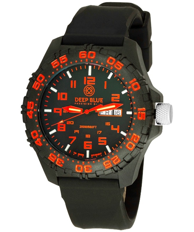 Deep Blue Daynight Diver Tritium watch Swiss movt. 200m WR Carbon Case Red